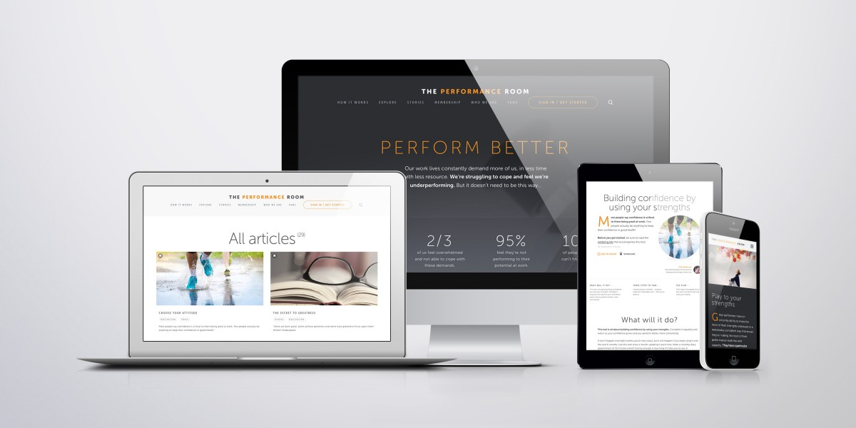 The Performance Room on desktop mobile and tablet devices